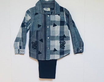 5T Boy Monkey Plaid Western Shirt Pants Set, Toddler Boy Cotton Clothes, Button Down Shirt, Long Sleeves, Fall Winter Christmas, Birthday