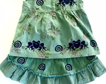 Girl 6 Frog Skirt Set, Girls Size 6, Cotton Summer Outfit, Green Girl Clothes, Twirly Skirt, Outfit,  Back to School Dress, inkybinkybonky