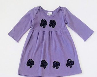 Purple Butterfly Dress, Toddler Girl Dress, Infant Girl Clothes, Fall Outfit, Baby, Long Sleeve, 6-9mo 12-18 mo 18-24 mo, inkybinkybonky