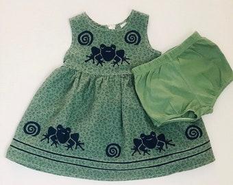 12month Green Frog Dress, Girl Sun Dress, Frog Birthday,Summer Dress, Floral Cotton Jumper,Infant Sundress, Toddler, inkybinkybonky