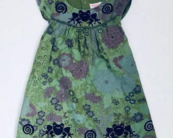 5t Green Frog Dress, Girl Size 5, Sun Dress, Cotton Jumper, Twirly Dress, Floral Toddler Dress, Sun Dress Back To School, inkybinkybonky