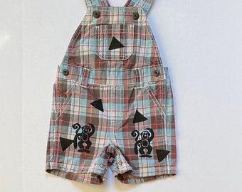 6mo Monkey Overalls, Plaid Boy Outfit Boy 3-6m Boy Summer Clothing Boy Baby Gift New Baby Boy Bib Overalls Gender Neutral Kids