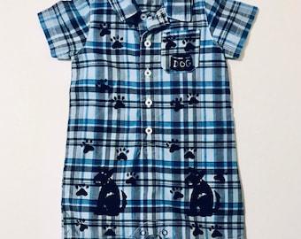 Puppy Dog Romper, 18 Mo Boy Clothes, 18mo Boy Clothing, Toddler Boy Cotton, Boy One Piece, Boy Plaid Romper, inkybinkybonky