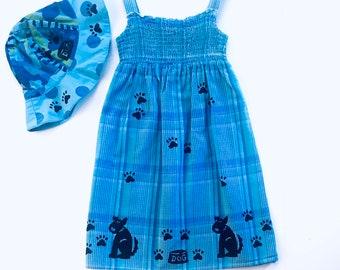 5 Girl Blue Dog Dress, Girl Summer Dress, Cotton Toddler Sun Dress, Plaid Jumper, Sundress Size 5, Back To School Dress, inkybinkybonky