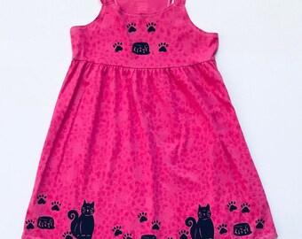 10-12 Pink Kitty Cat Dress, Summer 10-12 Sundress, Sun Dress. Cotton, Girl Size 10-12, Girl Clothes Back To School,Jumper, inkybinkybonky