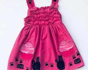 Pink Kitty Dress, 3T Sun Dress, Cotton Girl Dress, Jumper, Kitty Cat Birthday, Dress With Pockets, Toddler Girl Dress, inkybinkybonky