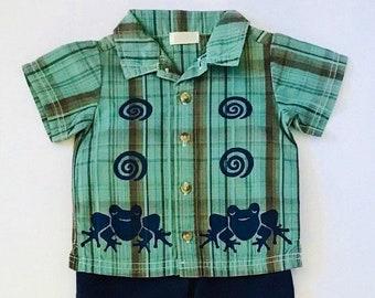 6mo Green Frog Shirt Set, Cute Boy Gift, Infant Baby, Boy Summer Outfit, Cotton Boy Summer Clothes 6 Month Boy Set, inkybinkybonky
