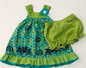 12mo Frog Dress Set, Girl Green Frog, Sun Dress,  Cotton Infant Summer, Frog Birthday Dress, Girl Clothes, Sleeveless Jumper, inkybinkybonky
