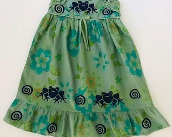 6 Green Frog Dress, Girl Size 6, Cotton, Floral, Sun Dress, Twirly, Sundress, Toddler Dress, Back To School, inkybinkybonky