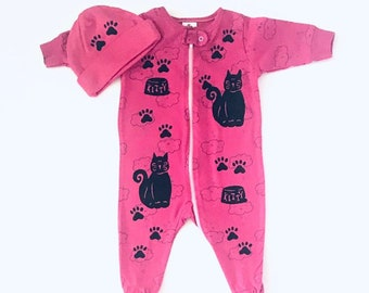 3mo Pink Kitty Cat Sleeper Girl Sleeper, Baby Sleep Gift , Shower Gift Newborn, Pajama, Infant Girl Sleeper Infant Girl Clothes Girl Footie