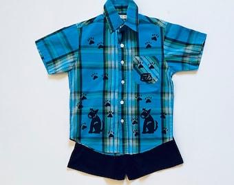 Toddler 4 Boy Blue Puppy Dog Shirt Set, Boy 4T Summer Cotton Clothing, Toddler Boy Clothes, Puppy Dog Birthday, inkybinkybonky
