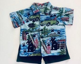 12mo Blue Dog Shirt Short Set, Infant Boy Clothes, 12m Boy Clothes, Summer Cotton Clothing, Puppy Dog Birthday, Hawaiian, inkybinkybonky