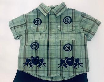 Green Frog Shirt Shorts Set, 12 Mo Boy Outfit, Boy Birthday, 12m Boy, Boy Summer, Baby Boy, 12 Boy Gift, Boy First Birthday, inkybinkybonky
