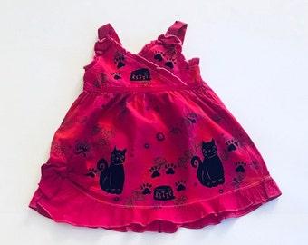 24mo Pink Kitty Dress,Cotton  Toddler Girl Summer Dress, Pink Sun Dress, Girls Clothes, Kitty Cat  Birthday, Sundress, inkybinkybonky