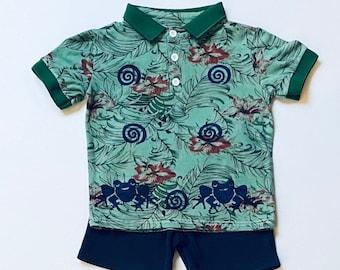 2T Boy Frog Polo Shirt Shorts Set, Toddler Boy Green Frog Shirt, Boy Cotton Summer Clothes  Frog Birthday, Hawaiian Shirt, inkybinkybonky