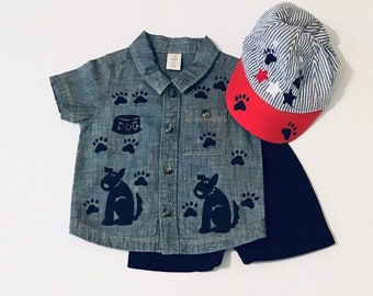 6 month Boy Puppy Dog Outfit,  6 Mo Infant Boy Clothes, Button Down Cotton Shirt and Shorts, Infant Boy Shower, Boy Gift, inkybinkybonky
