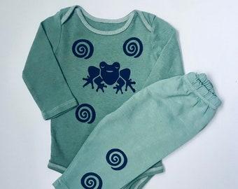 6m Green Frog Onesie Pants Set Unisex New Baby Boy Gift Boy Shower Gift Boy Onesie Set Newborn Boy 6m Boy Shower Gift Gender Neutral