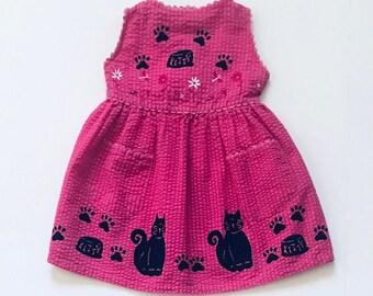 2t Pink Kitty Dress Summer Dress Girls Size 2 Sun Dress Black Kitty Cat Dress Toddler Dress Girl Clothing Sundress Summer Clothing Jumper