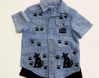 4T Dog Shirt Boy, Cotton Toddler Clothing, Boy Shirt Set, Boy Summer Clothes, Puppy Dog Birthday, Boy 4 Boy 4t, inkybinkybonky