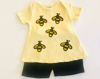 Infant Girls Bumblebee Outfit, Girl Bee Clothes, Baby Girls, Toddler Clothing, Bee Birthday. Cotton Clothes, Yellow, Baby Shower Gift