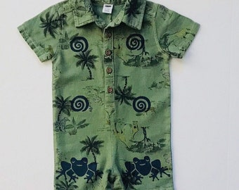 Green  Frog Romper, 12 Mo Boy Frog Onesie, 12 mo Infant Boy, Cotton Boy Clothes, Baby Boy Gift, Boy Summer, Boy Clothing, inkybinkybonky