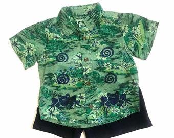 18-24 mo Boy Shirt Shorts Set, Cotton Toddler Boy, Green Frog Hawaiian Shirt, Summer Boy Clothing, Infant Boy Summer, inkybinkybonky