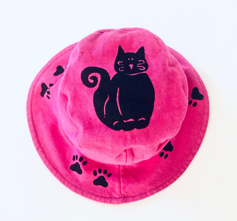 Pink Kitty Infant Toddler Bucket Hat Girl Hat Girl Summer Hat image 1