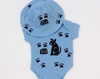 6 Mo  Boy Onesie With Hat Set, Baby Boy Gift  Boy Puppy Dog Onesie Infant Boy Gift Newborn Boy Gift Boy Shower Blue Dog Onesie Baby Boy Gift