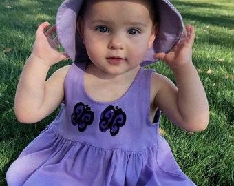 Infant Girl Purple Butterfly Dress Hat Set, Baby Dress, Purple Butterfly, Girl Clothes, Summer Sun Dress, Baby Girl Dress, inkybinkybonky