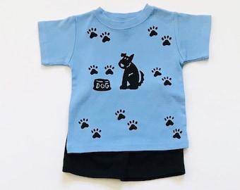 Boy Blue Dog Shirt Short Set,  12m,18,m, 2T, 4T, 6  Infant Boy Clothes Toddler Boys Clothing,   Puppy Dog Birthday, inkybinkybonky