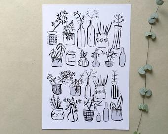 Plants and vessels art print