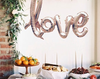 "LOVE script- Rose gold Mylar Balloons and 2 White 36"" round balloons set"