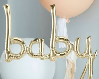 BABY script- White Gold gold Mylar Balloons {Party- Celebration Decor}