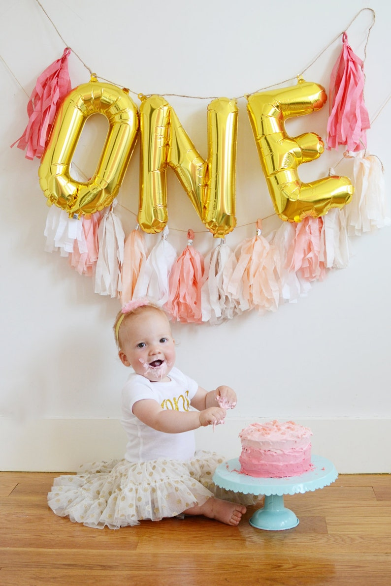 ONE Gold Mylar Balloons 1st Birthday Cake Smash With Custom