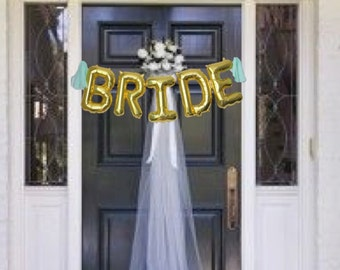 BRIDE Gold Mylar Balloons {Bachelorette Party, Bridal Shower decor} With custom Tassles