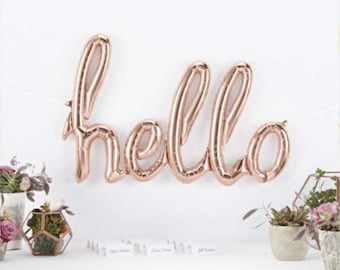 HELLO script- ROSE Gold gold Mylar Balloons {Party- Celebration Decor}