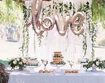 LOVE script- Rose gold Mylar Balloons {Party- Celebration Decor}