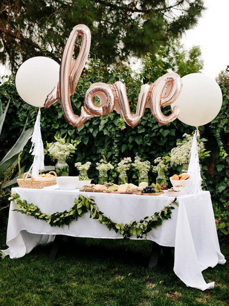 LOVE script Rose gold Mylar Balloons Party Celebration image 0