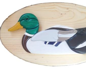 Wooden Drake Mallard Duck wall plaque