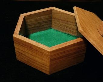 Decorative wooden box, hexagon, Macacuaba