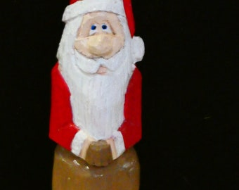 Santa figurine, hand carved and painted