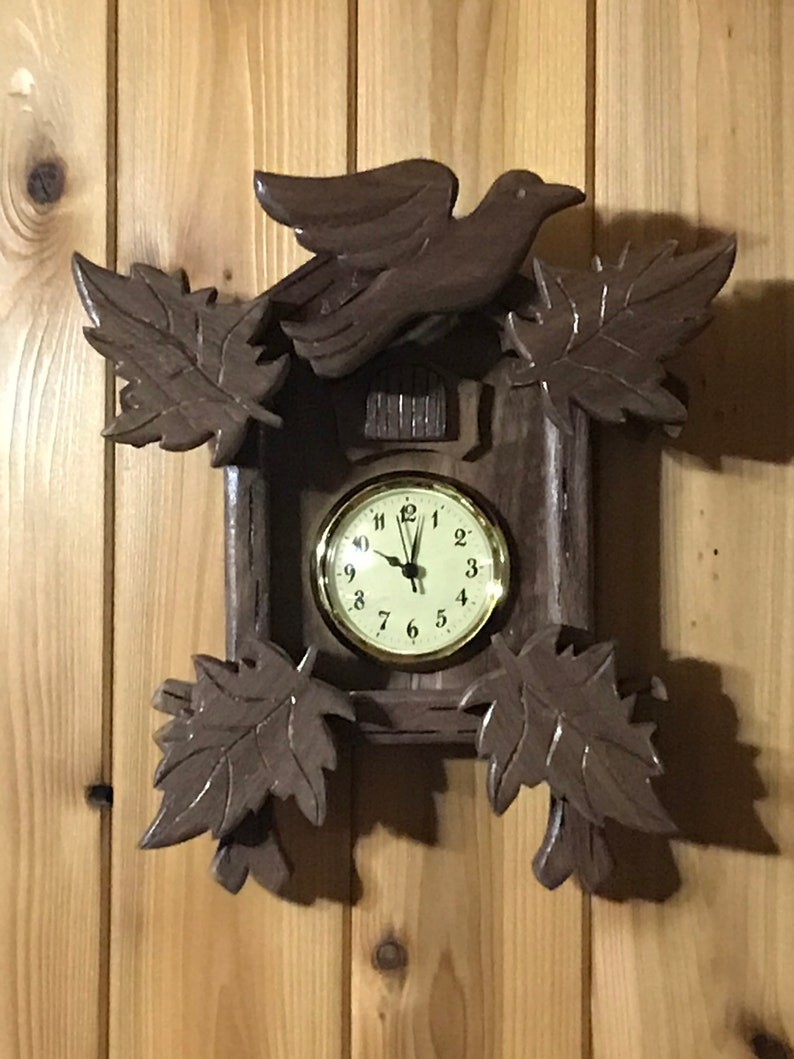 Solid Walnut Wall Clock modeled after a Black Forest Clock image 0