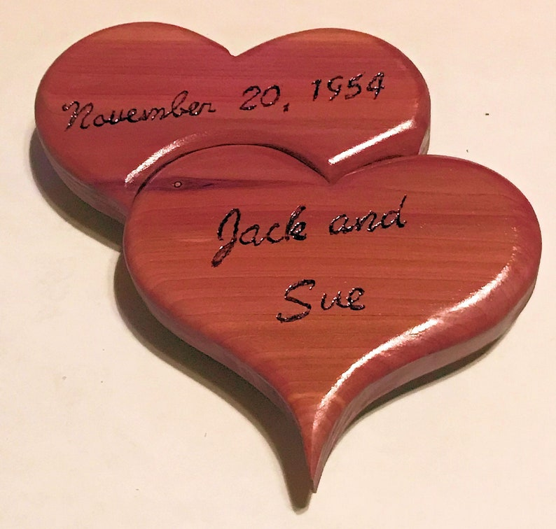 Personalized Joined Hearts  6 x 6 Red Cedar image 0