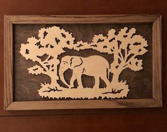 Scroll Saw Elephant Portrait