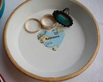 Wedding Gift Catch All Dish Personalized Ring Dish Personalized Gift Glass Map Jewelry Dish Trinket Dish Custom Gift Ring Dish