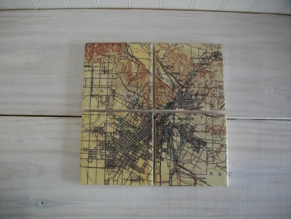 Los Angeles Topographic Map Coasters Ceramic Tile Map Coaster Etsy