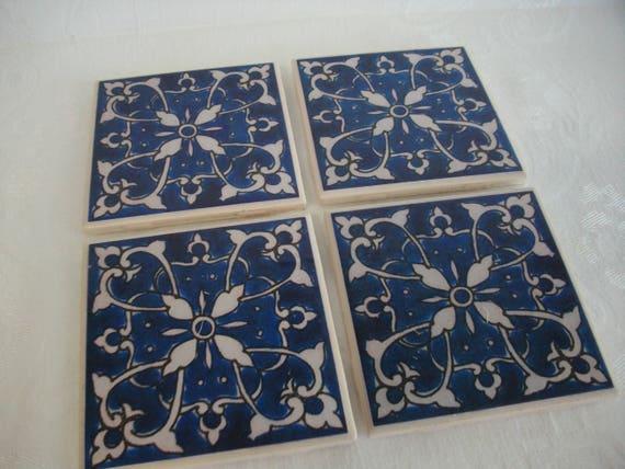 Blu piastrelle marocchine sottobicchieri personalizzati etsy