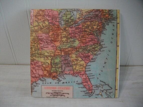 Tile Trivet / Eastern USA Map Coaster Trivet / Eastern United States Area  Map 6 Inch Wine Coaster Trivet / Large Size Coaster or Trivet