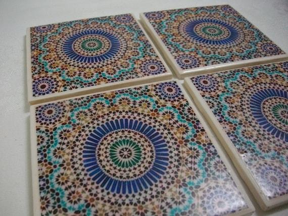 Boho marocchino tile sottobicchieri personalizzati etsy