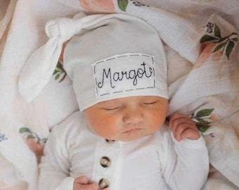 WARM WHITE: personalized hat-baby name hat-newborn name hat-personalized newborn hat-hospital hat-coming home outfit-knots-photoprop